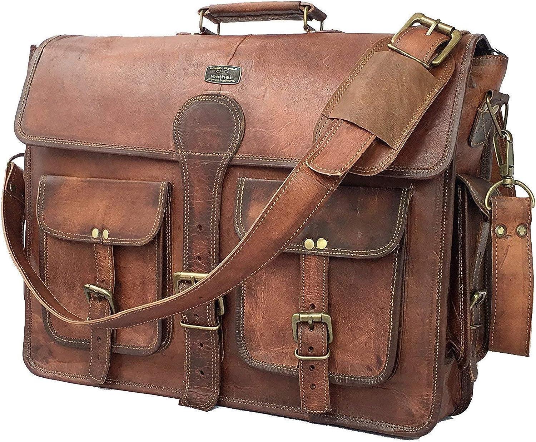Véritable De Chèvre Cuir Round Travel hommes sac vintage luggage Gym Duffle Messenger