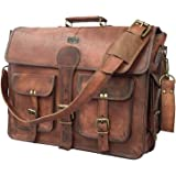 DHK 18 Inch Vintage Handmade Leather Messenger Bag Laptop Briefcase Computer Satchel bag For Men (DARK BROWN)