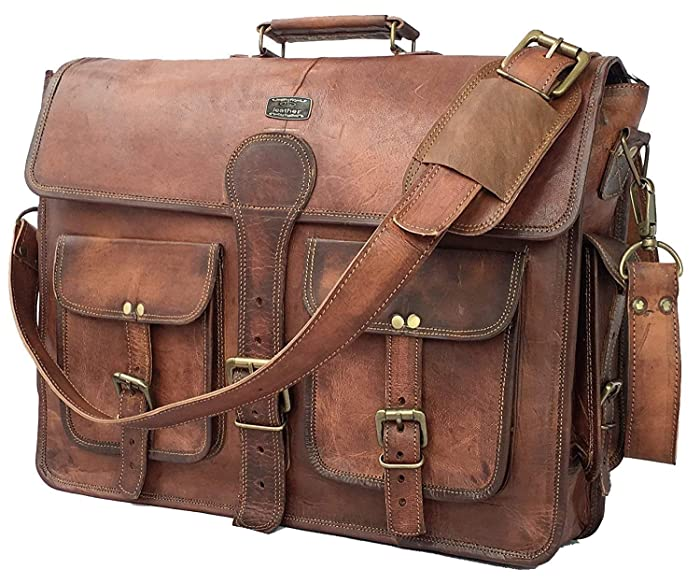 DHK 18 Inch Vintage Handmade Leather Messenger Bag Laptop Briefcase Computer Satchel bag For Men (DARK BROWN)