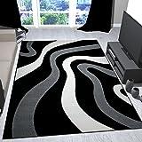 Alfombra de diseño para el salón moderna motivo ondas en negro gris y blanco - VIMODA , Maße:120x170 cm