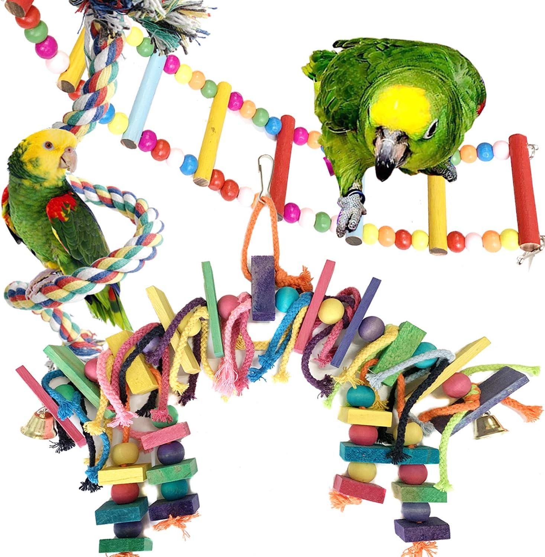 PietyPet Juguetes para loros de pájaros, para jaulas, coloridos bloques de madera, loros, con campanas, escalera de madera, percha de cuerda para loros pequeños y medianos, 3 unidades
