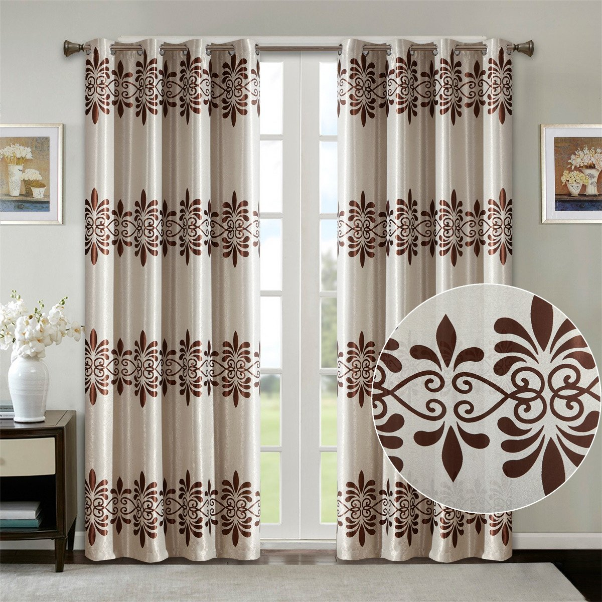Dreaming Casa Window Blackout Curtains for Living Room, Bedroom 63 Inches Long Grommet/Eyelet Room Darkening Drapes European Pattern 2 Panels (White, 72'' Wx 84'' L)