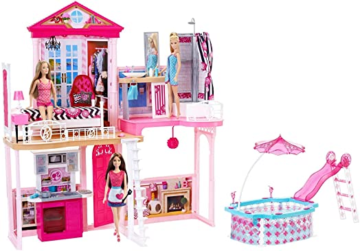 Barbie Complete Home Set   House And Pool Giftset Inc 3 Dolls And 3 Furniture  Sets