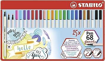 Estuche Colorparade con 20 colores Rotulador premium punta de pincel STABILO Pen 68 brush