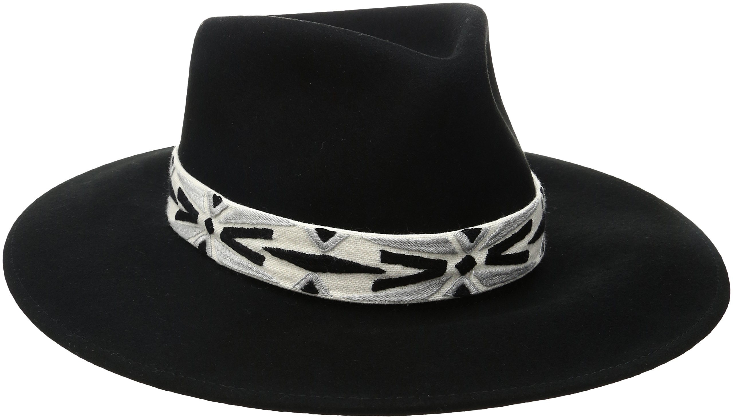 'ale by alessandra Women's Luna Felt Fedora With Hand Embroidered Trim, Black, One Size