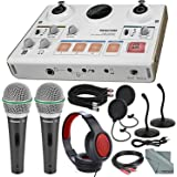 Tascam US-42 MinStudio Creator Audio Interface for Podcasting W/Platinum Bundle W/Cables + 2 Samson Microphones + Headphones + Pop Filters +Goose Neck Stands + Fibertique Cleaning Cloth
