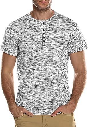 HASIZHE Top Camiseta de Manga Larga para Hombre - Henley Béisbol con V Cuello Algodón Mangas Largas Slim Fit tee: Amazon.es: Ropa y accesorios