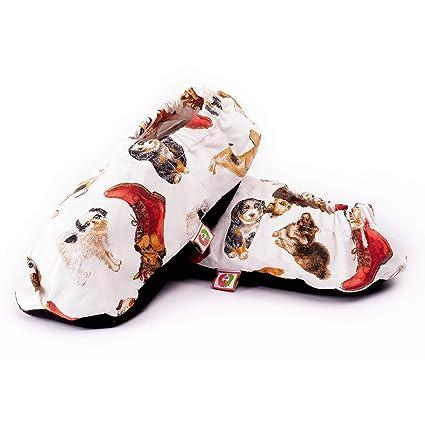 Zapatillas térmicas con semillas para calentar en el microondas. Pantuflas calientapiés 100% naturales de primera calidad con aroma a lavanda.