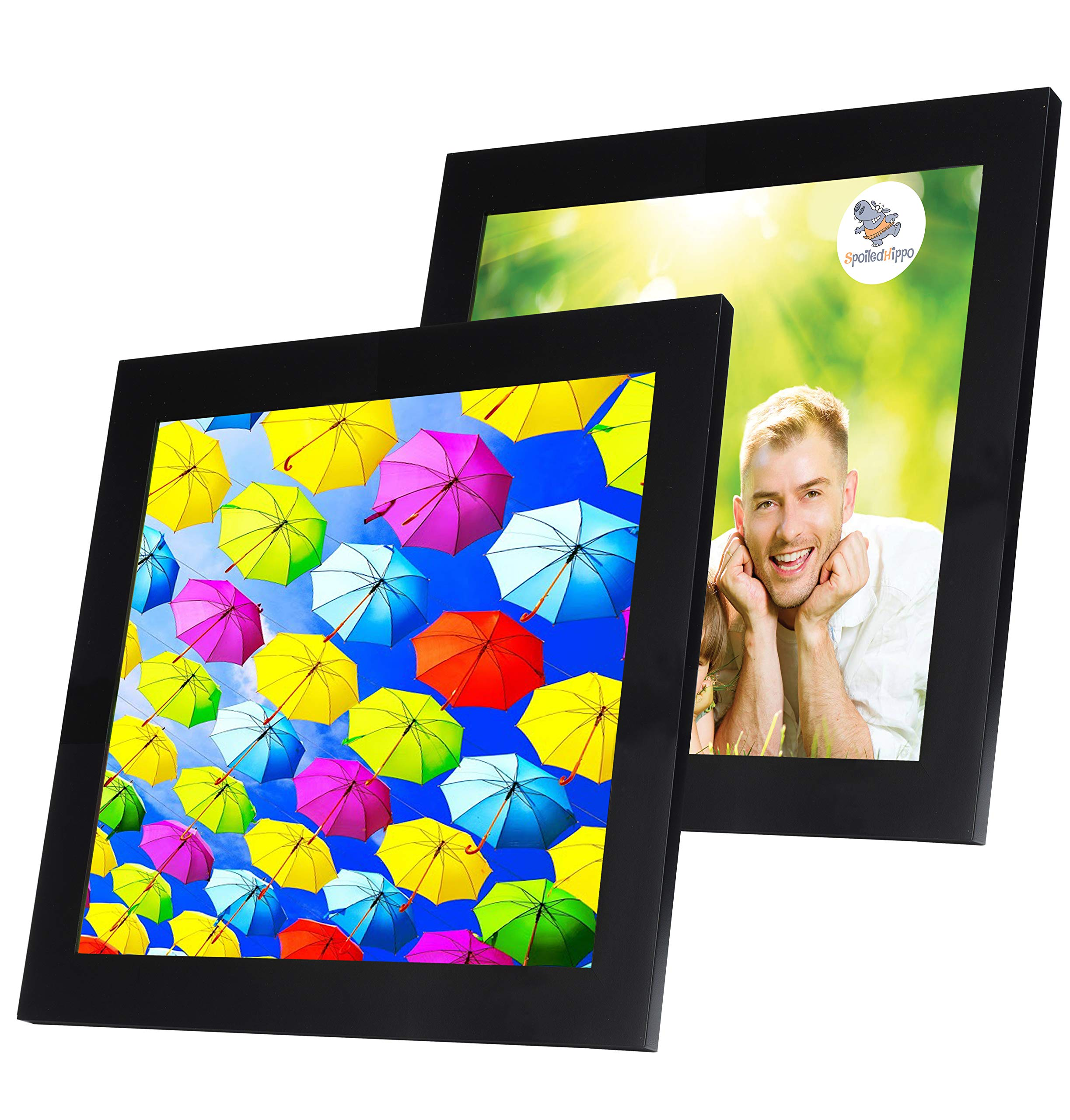 SpoiledHippo 10x10 Picture Frame Black (2 Pack) - Square Wood Photo Frames with Glass Cover - Made to Display 10 by 10 Inch Photos w/o Mat or 7.5x7.5 and 4x4 with Mats - Hanging or Standing by SpoiledHippo