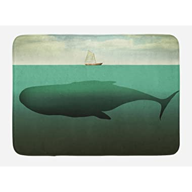 Ambesonne Fantasy Bath Mat, Surreal Giant Whale in The Middle of Sea and Little Sailboat on The Surface Print, Plush Bathroom Decor Mat with Non Slip Backing, 29.5 W X 17.5 L Inches, Green Beige