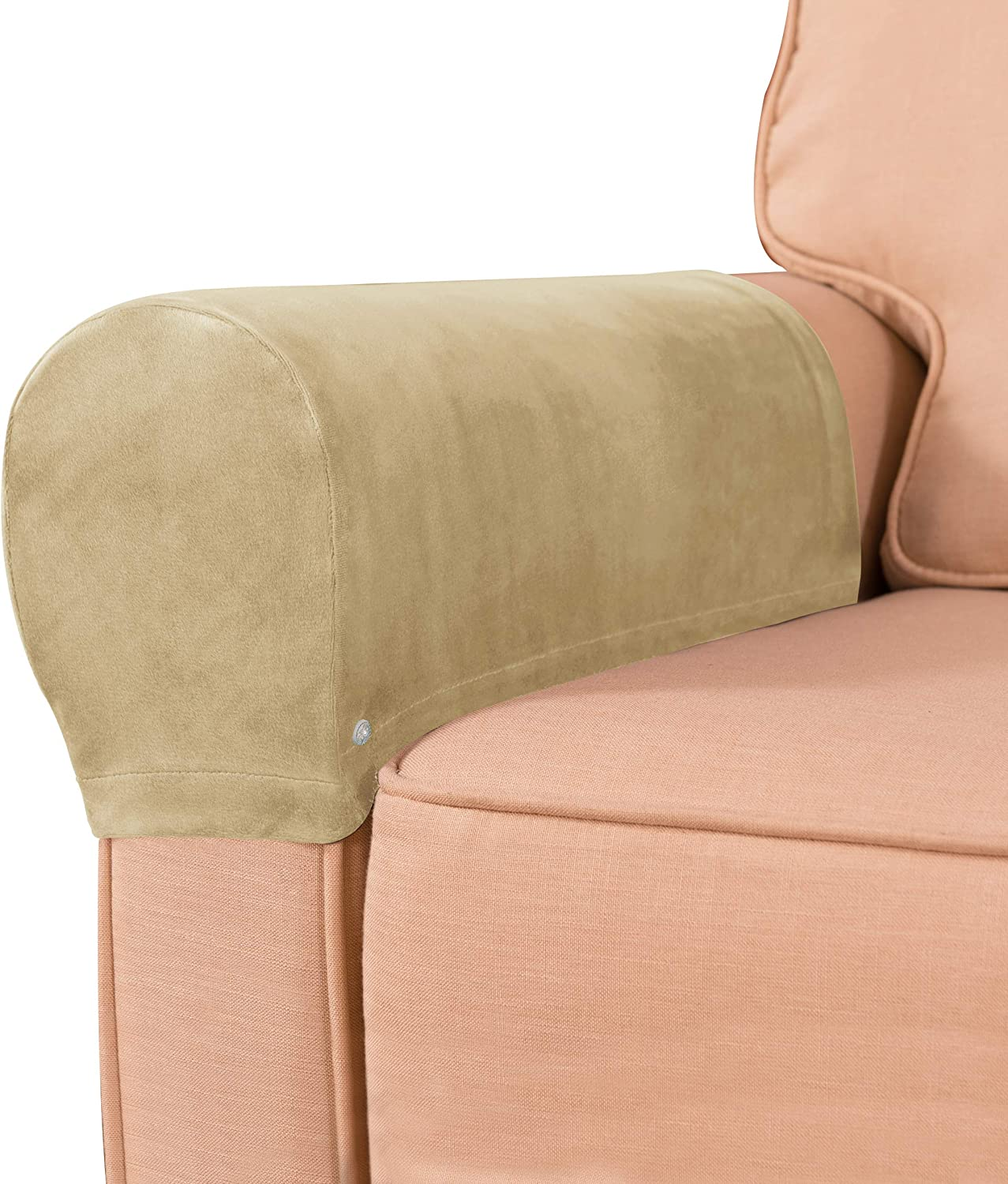 subrtex Velvet Armchair Covers Spandex Stretch Armrest Covers Couch Furniture Protector Armchair Slipcovers for Sofa with Free Twist Pins(Sand,2pcs)