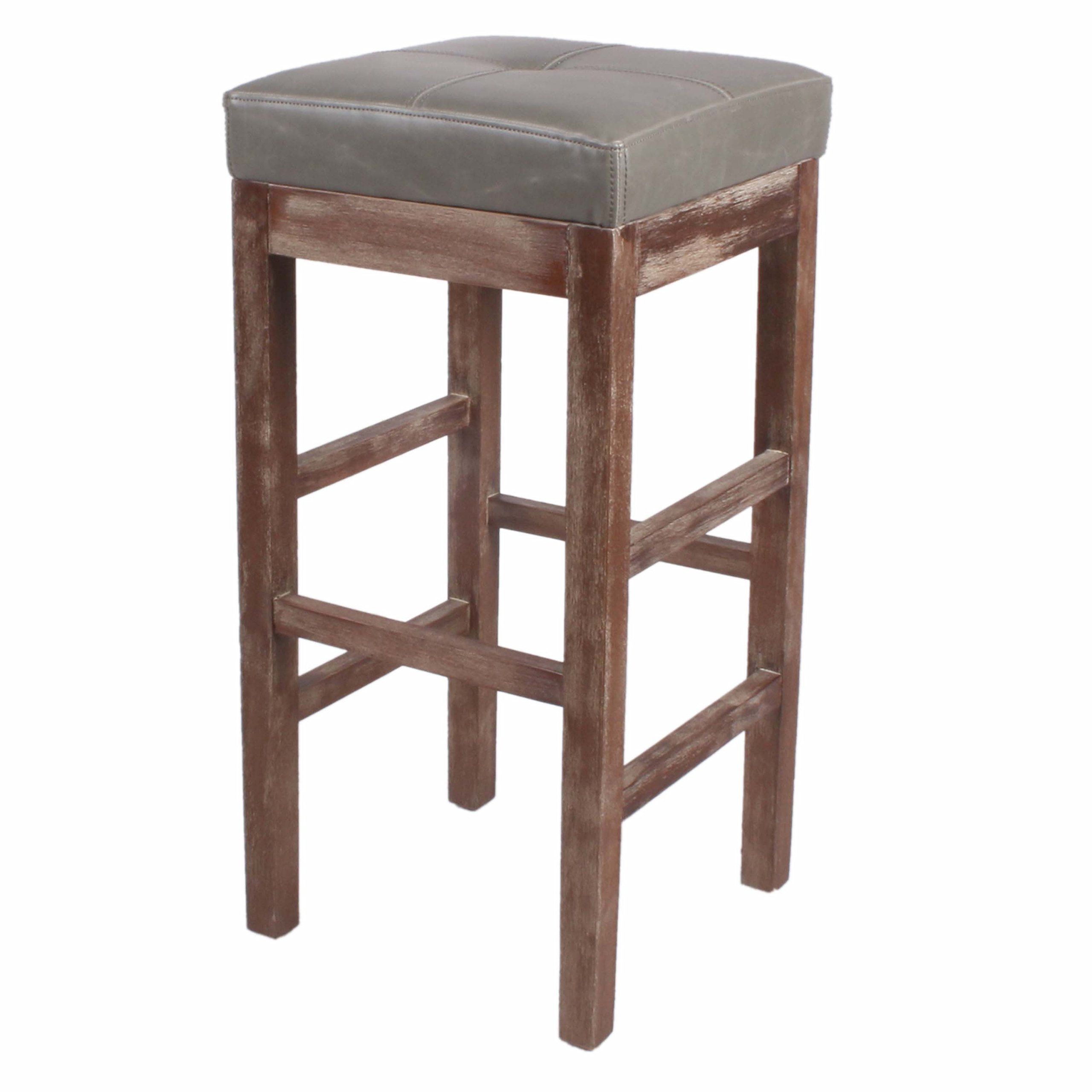 New Pacific Direct Valencia 27'' Bonded Leather Counter Stool, Drift Wood Legs, Vintage Gray by New Pacific Direct