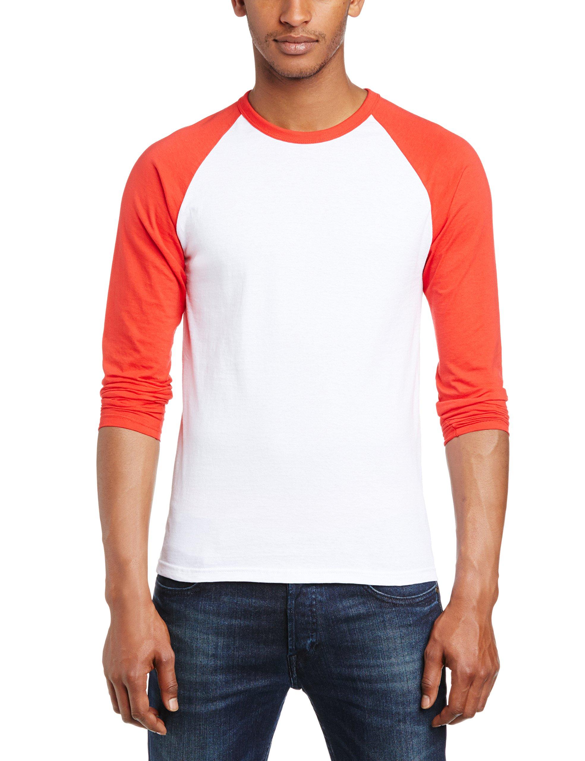 Fruit of the Loom Mens Long Sleeve Baseball T-Shirt (XL) (White/Red)