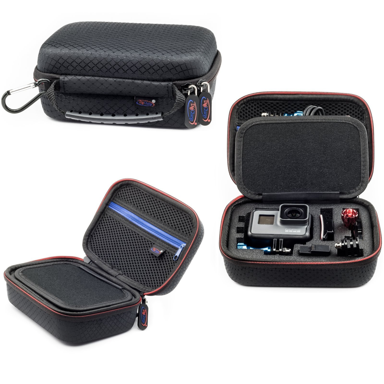 Extra Small Carrying Case For Action Camera GoPro HERO FUSION Akaso EK7000 Brave 5 4 Apeman EKEN H9R Fitfort Crosstour Campark ACT74 ACT76 Davola Dragon Touch Jeemak YI 4K Cam 6.5x4.5x3 Inch
