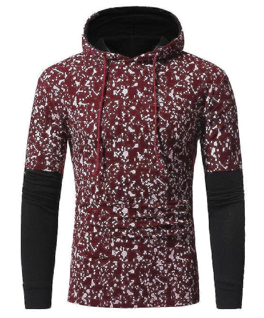 Ruhua Men Fake Two Hooded Hoodies Drawstring Fitted Tees Sweatshirt