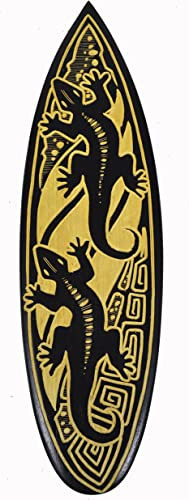 Double Gecko Carved in Drinking Cocktail Surfboard Sign Hand Carved Out of Wood