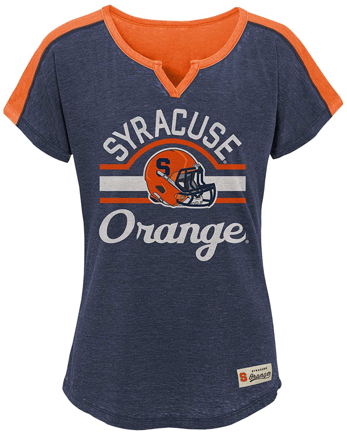 Dark Navy NCAA by Outerstuff NCAA Syracuse Orange Youth Girls Tribute Raglan Football Tee Youth Small 7-8
