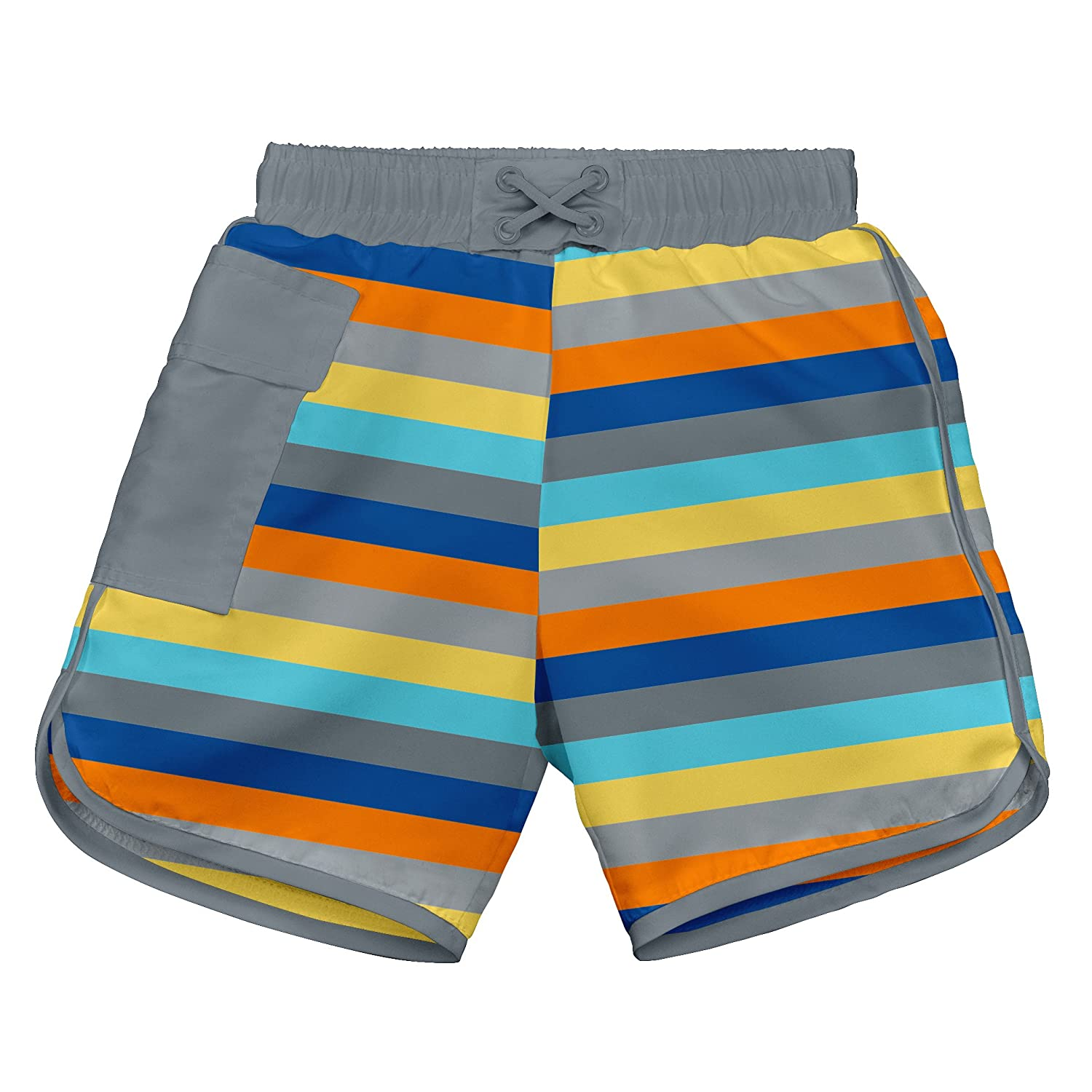 i play. Baby Boys' Striped Pocket Pocket Board Shorts with Built-In Swim Diaper, Gray/Stripe, 6 Months i play Children' s Apparel 722187-614-43