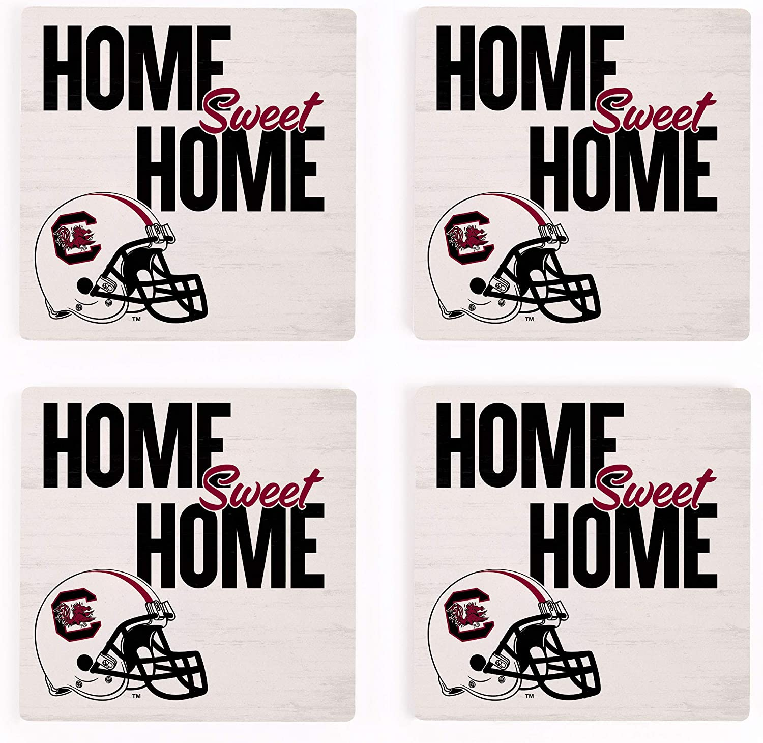 Home Sweet Home University of South Carolina NCAA 4 x 4 Absorbent Ceramic Coasters Pack of 4