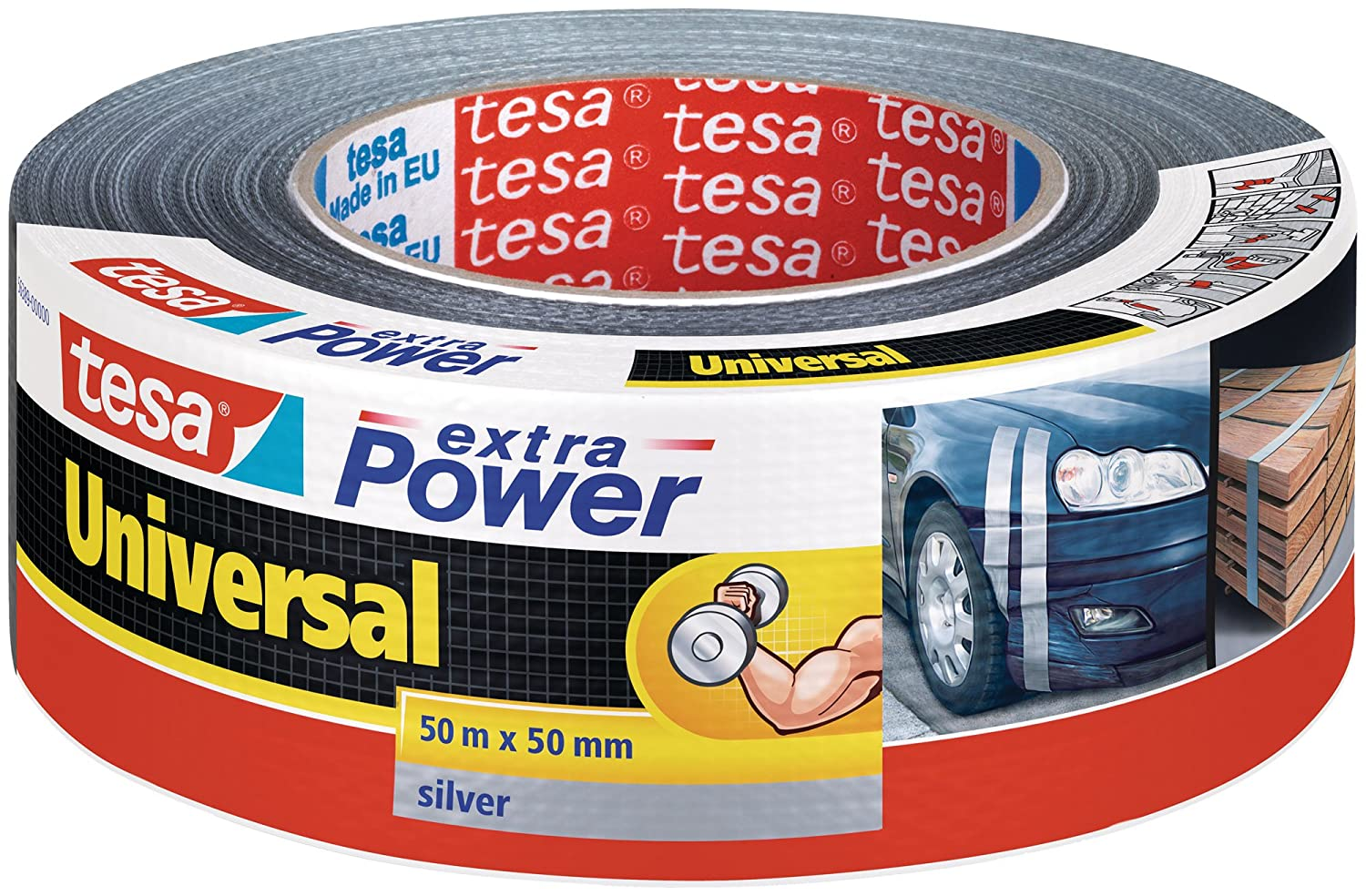 tesa UK Extra Power Weather Resistant Duct Tape for Household Repairs, 50 m x 50 mm - Grey 56389-00000-11