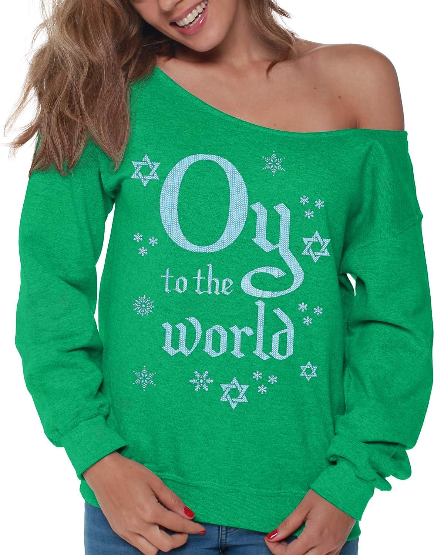 Vizor Jewish Off Shoulder Sweatshirt Funny Oy to The World Hanukkah Ugly Sweater