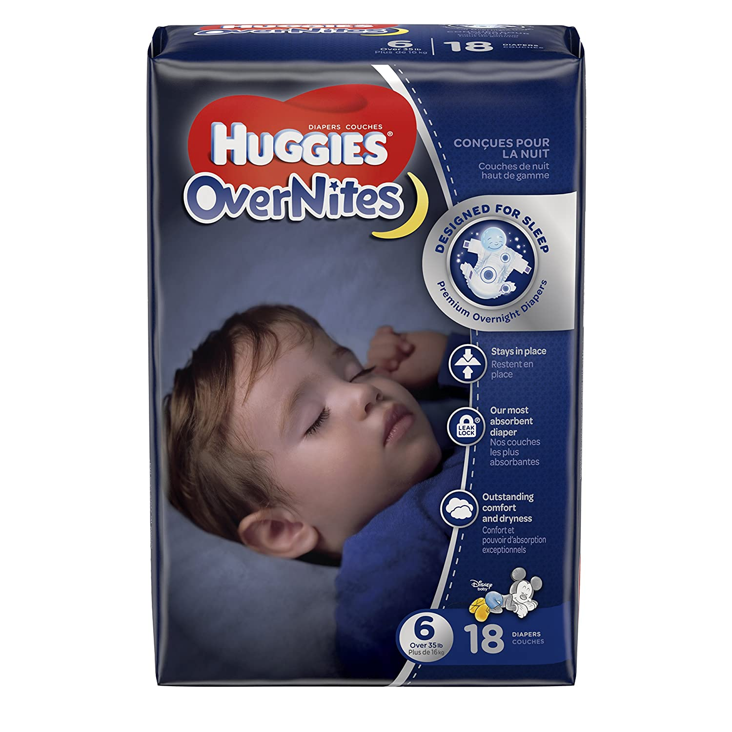 HUGGIES OverNites Diapers, Size 6, 18 ct, Overnight Diapers (Packaging May Vary) 10036000406853