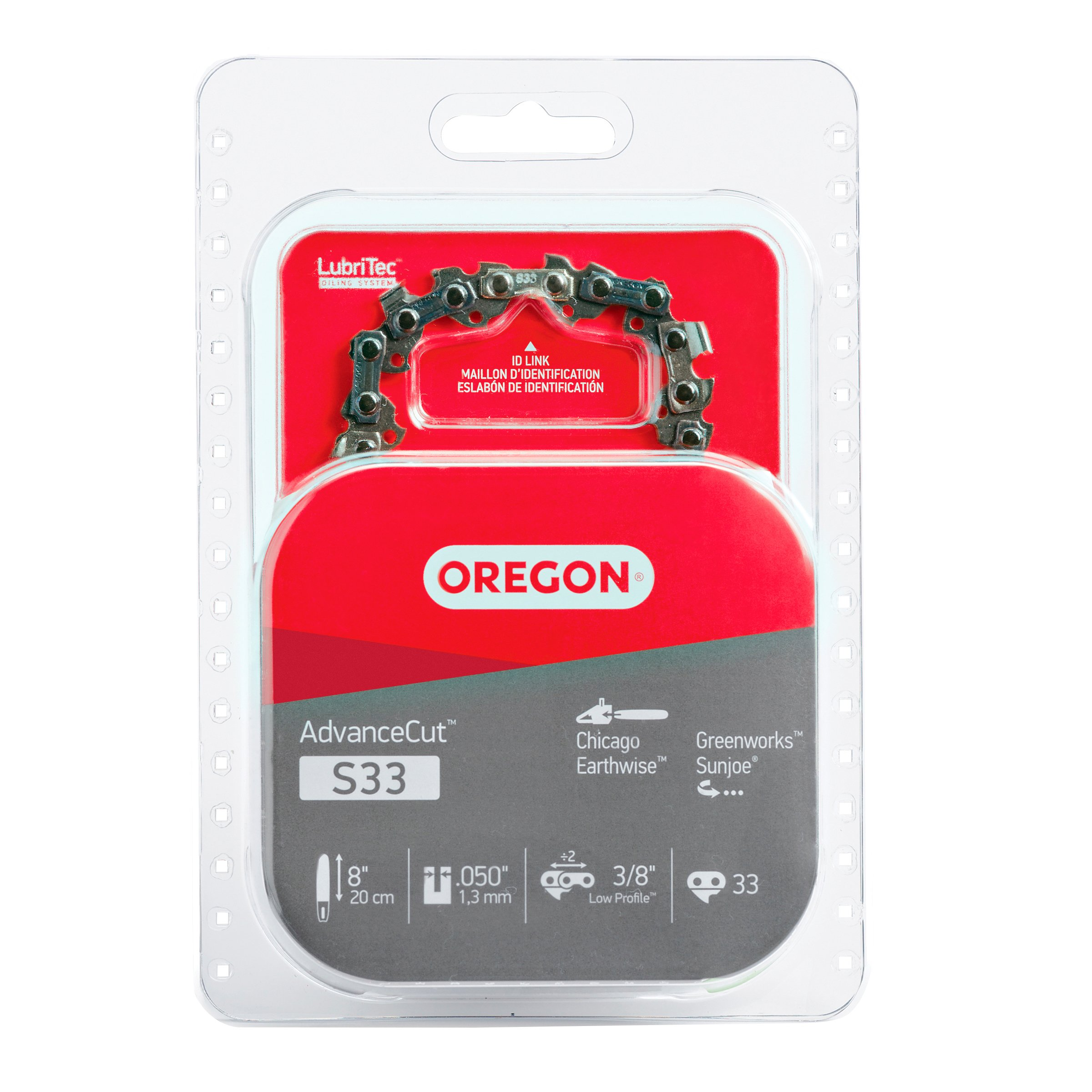 Oregon S33 AdvanceCut 8-Inch Chainsaw Chain, Fits Chicago, Earthwise, Greenworks, Sun Joe by Oregon