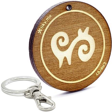 LIKY® Energía símbolo Adinkra Llavero Original de Madera ...