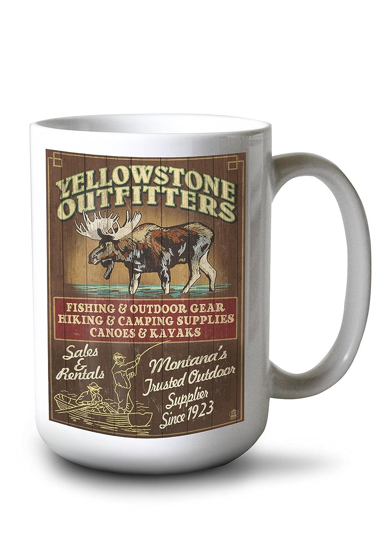 イエローストーン国立公園、モンタナ州 – Moose Outfitters Vintage Sign 15oz Mug LANT-3P-15OZ-WHT-40987 15oz Mug  B077RS95ZW