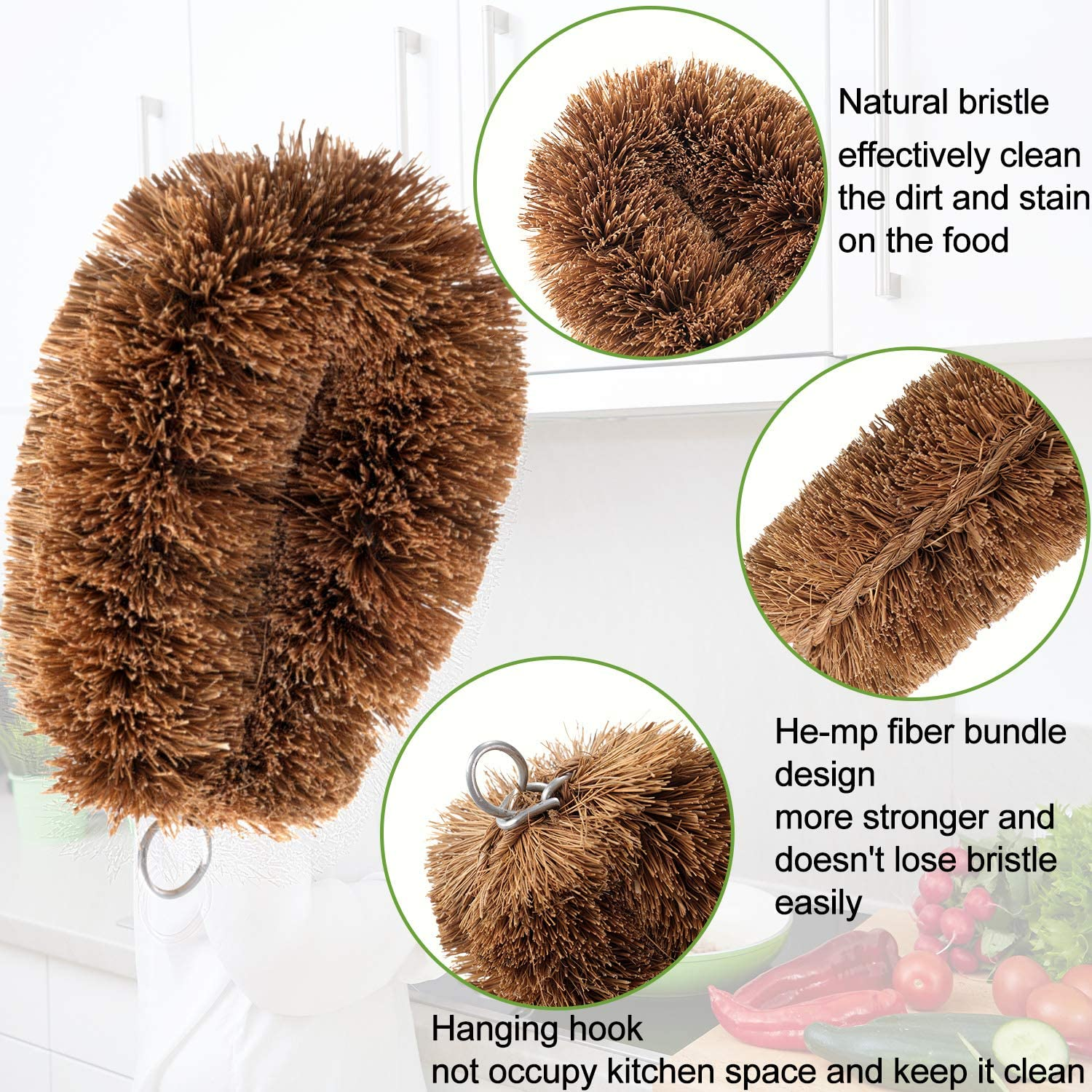 4 Pieces Vegetable Scrub Brush Fruit Washing Brushes Natural Bristle Dish Cleaning Brush with Hanging Loop or Kitchen Vegetable Fruit Potato Carrot Dish Cleaning Tools