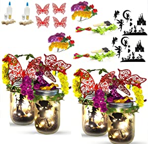 Fairy Lantern Craft Kit for Girls and Boys with 4 Glass Jars, Fairy Garden Kit, DIY Fairy Jar Night Lights Craft for Kids