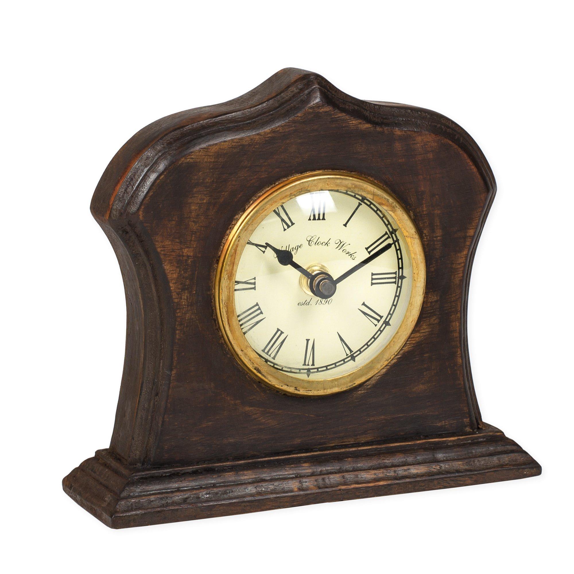 Bristol Village Clockworks Replica 6 x 6 Wooden Table Top Analog Clock