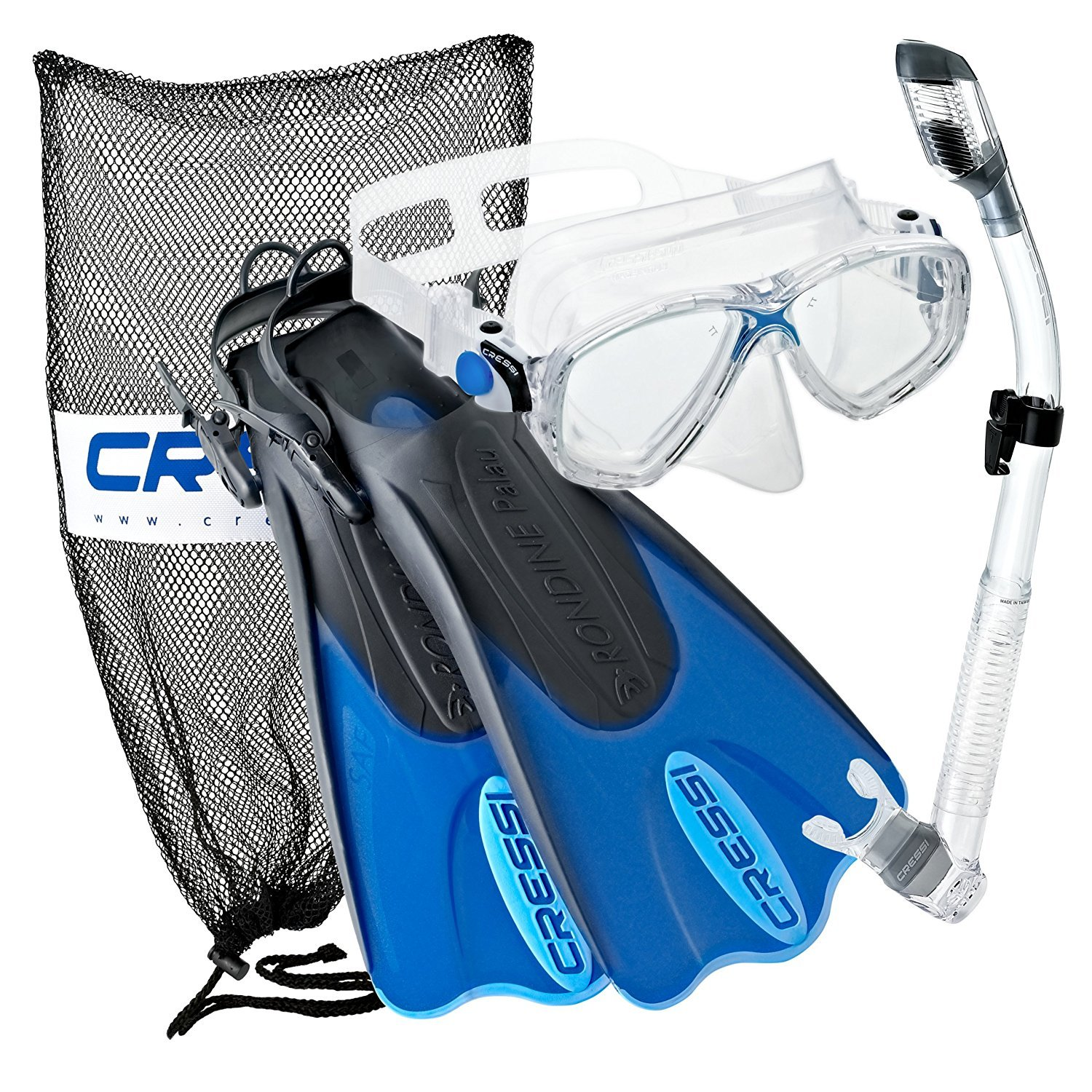 Cressi Palau Mask Fin Snorkel Set with Snorkeling Gear Bag, Blue, XS/S | (Men's 2-4) (Women's 3-5)