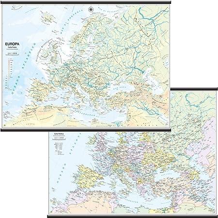 Europa Papel Mural escolar bifacciale [físico/político] [132 x 99 cm] Belletti: Amazon.es: Oficina y papelería