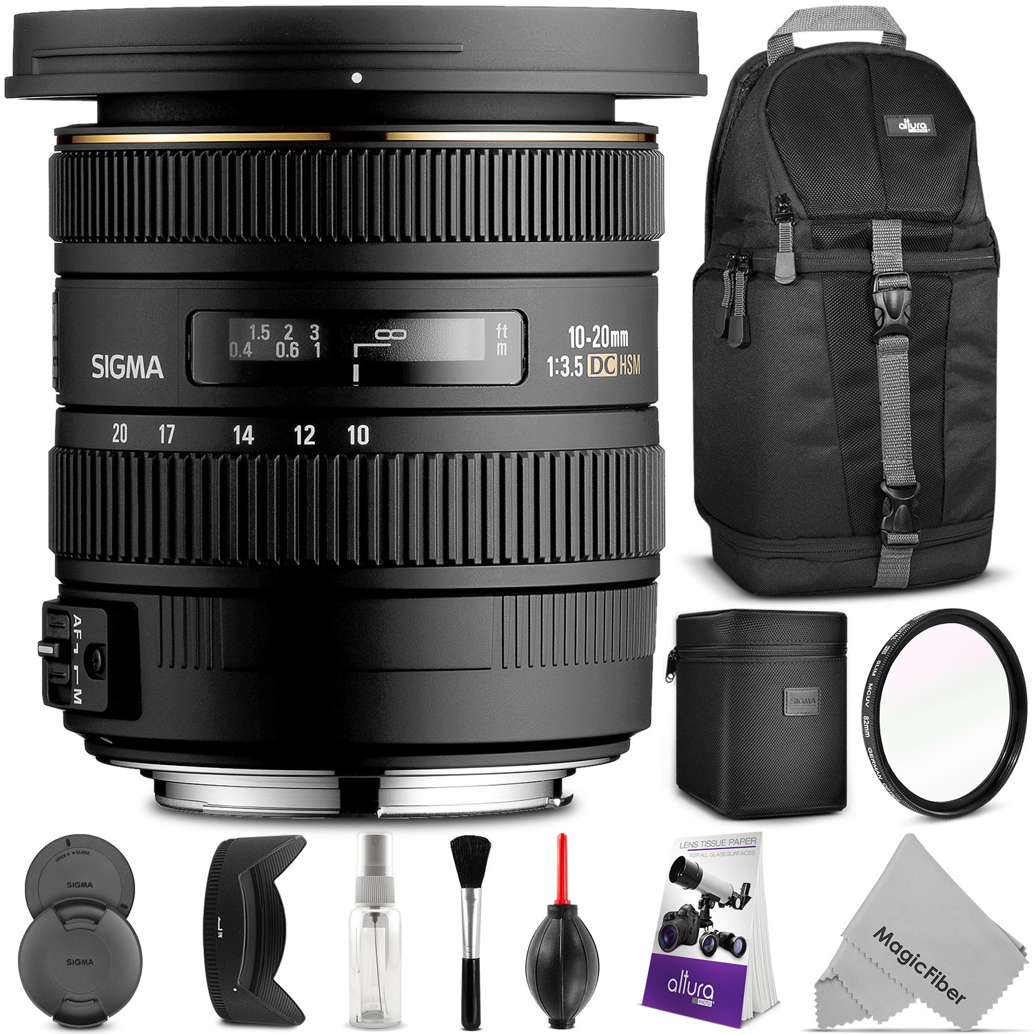 Sigma 10-20mm f/3.5 EX DC HSM ELD SLD Wide-Angle Lens for CANON DSLR Cameras w/ Essential Photo and Travel Bundle by Sigma