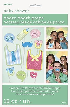 Unique Party- Paquete de 10 accesorios de cabina de fotos Baby Shower, Color, One Size (Pack of 10) (61931)