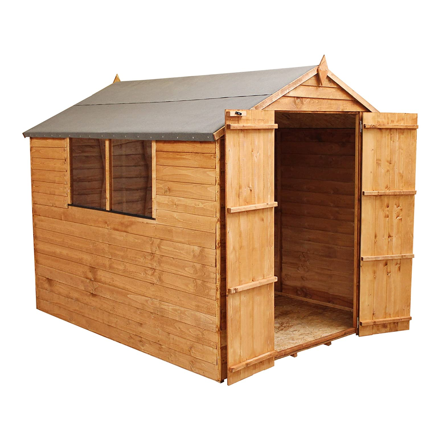 1878 8x6 Wooden Garden Storage Shed, Overlap Construction Dip Treated With  10 Year Guarantee, With Window, Double Door, Apex Roof, Roof Felt U0026 Floor  ...