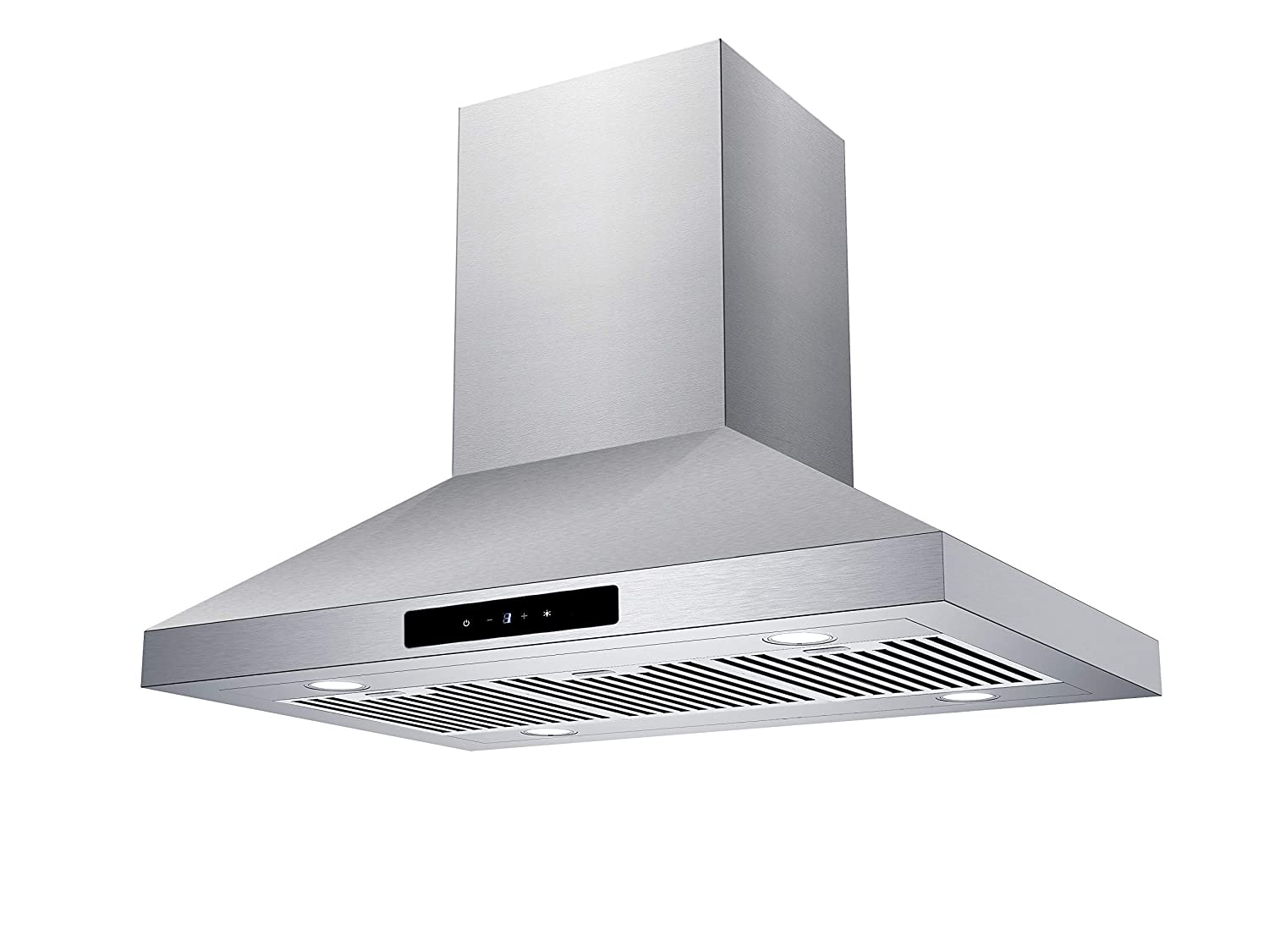CIARRA 36-in Island-Mount Range Hood Stainless Steel Ducted/Ductless Convertible Duct Chimney Kitchen Stove Hood Vent with Aluminum Baffle Filters 450CFM/LED Lighting
