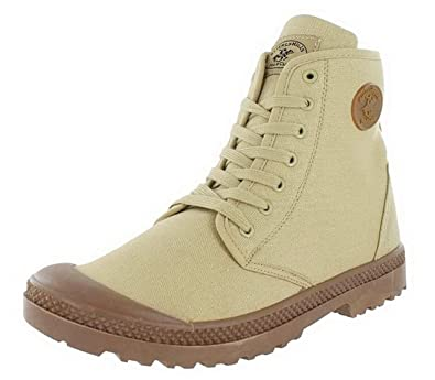 Womens Canvas Military Boots Cream/Gum 190877CB