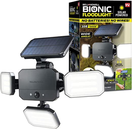 BIONIC FLOODLIGHT by Bell+Howell 180° Swivel Triple LED Panels 3.6W Light Solar-Powered, Motion-Sensing, Outdoor All-Season Water Proof 108 Powerful Security Lighting with Remote Control As Seen On TV