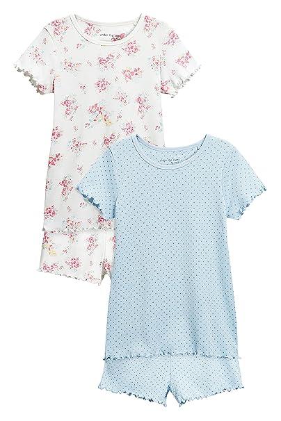 next Niñas Pack De Dos Pijamas Cortos con Estampado Floral/Lunares (3-16