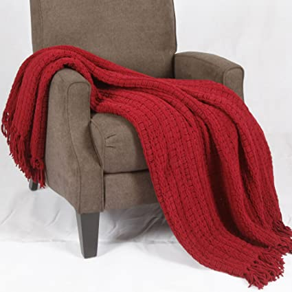 Stupendous Boon Space Yarn Knitted Throw Couch Cover Sofa Blanket 50 X 60 Burgundy Bralicious Painted Fabric Chair Ideas Braliciousco