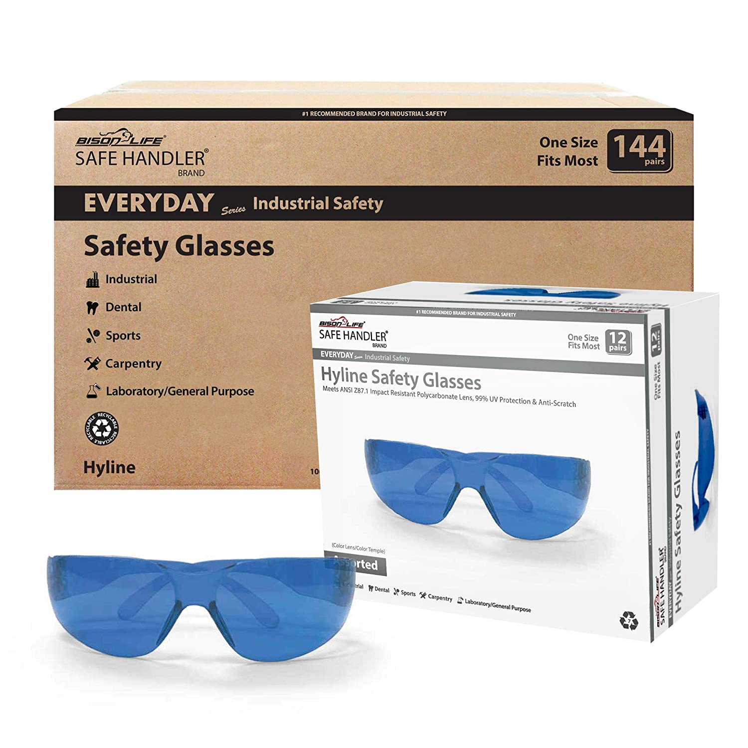Meets ANSI Z87.1 99/% UV Protection Anti-Scratch Anti-Fog Impact Resistant Polycarbonate Lens SAFE HANDLER Diamont Vented Over Glasses 12 PAIRS