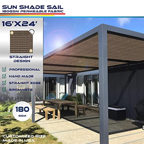 Windscreen4less Straight Edge Sun Shade Sail,Rectangle Outdoor Shade Cloth Pergola Cover UV Block Fabric 180GSM