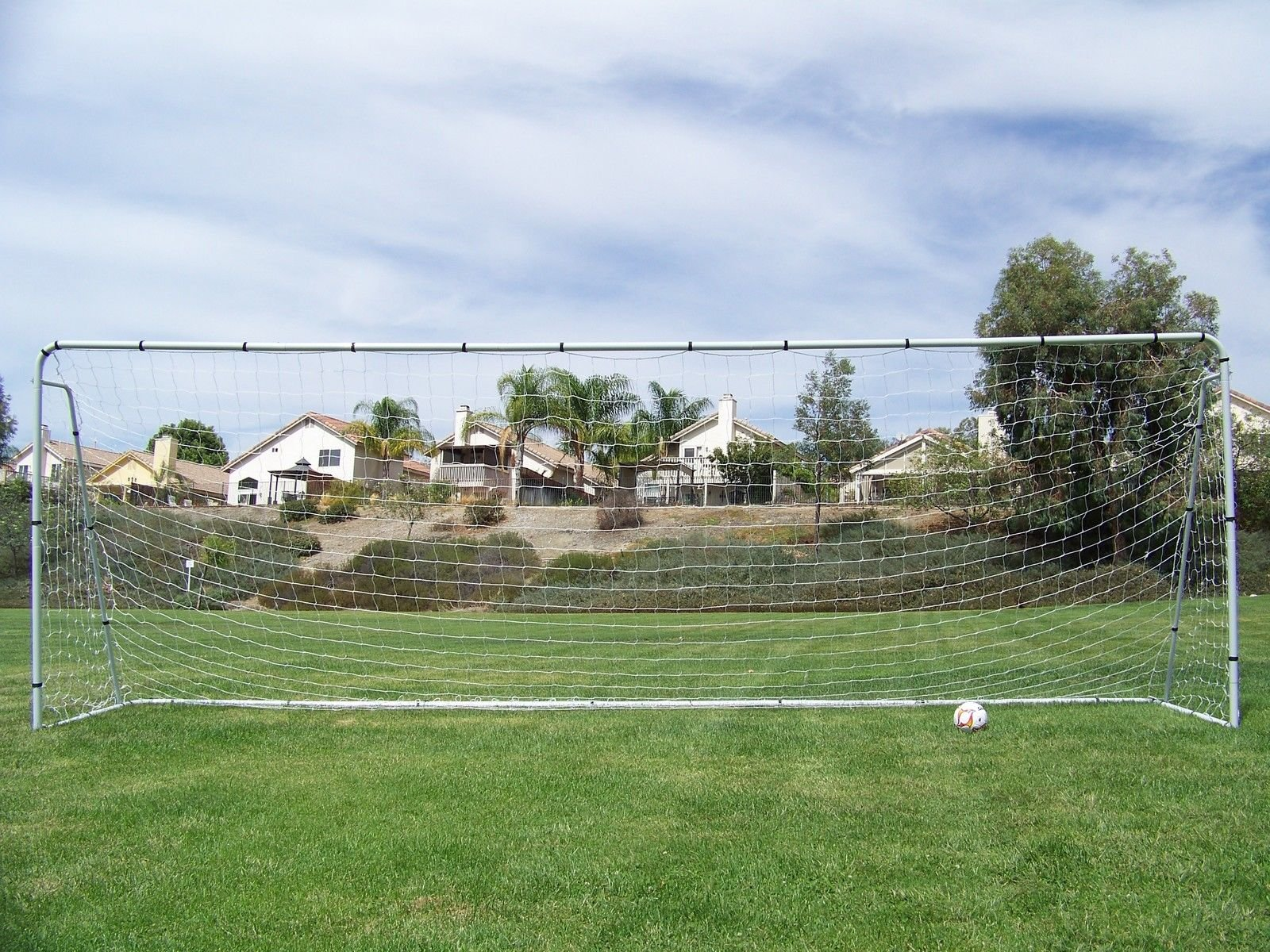 Official Size 18 x 7 x 5 Ft. Steel Soccer Goal. Heavy Duty Frame w/Net. Regulation League Size Goal. Professional Portable Practice Training Aid. 18 x 7, 18x7 Soccer Goal