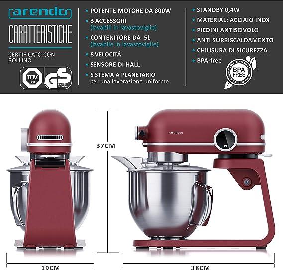 Arendo - Robot pastelero profesional Leader de 5 litros - Batidora de pie, amasadora - 800 W - Sistema de mezcla - 3 batidores - 8 velocidades - Cuenco de acero inoxidable - Pantalla LED - Rojo rubí: Amazon.es: Hogar