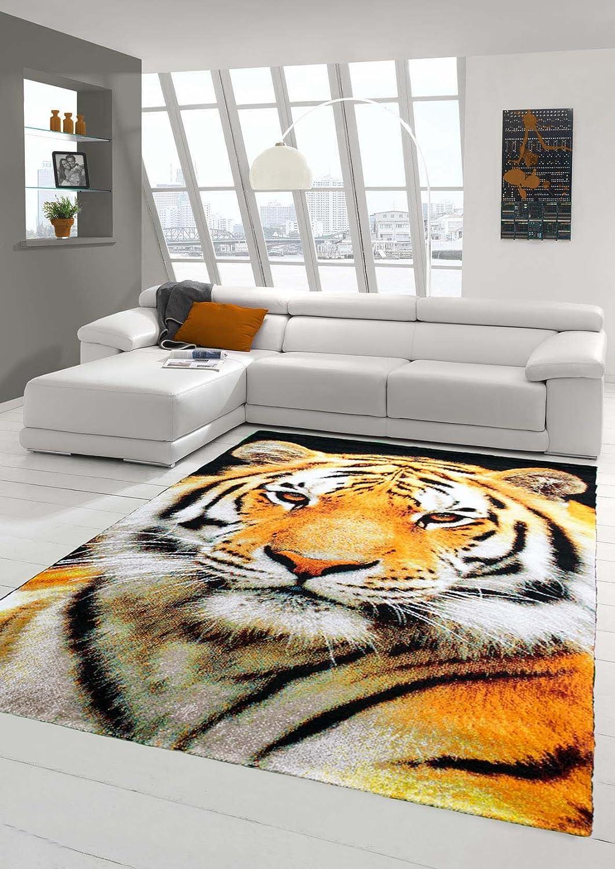 Traum Teppich Designerteppich Moderner Teppich Wohnzimmerteppich Tiger Orange Creme Schwarz, Größe 200x290 cm