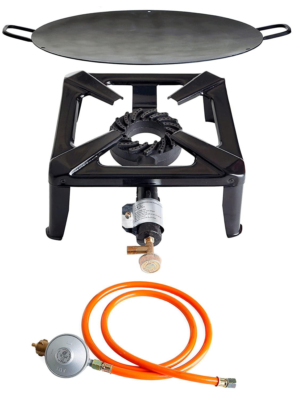 Hockerkocher mit 8.5 kW Leistung, Abmessung 30x30x15 cm und Grillschale Ø 50 cm inkl. Gasschlauch & Regler