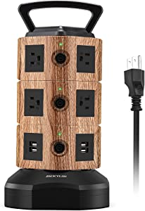 JACKYLED Power Strip Tower Surge Protector with 10 AC and 4 USB Ports 6.5ft Extension Cord Electric Charging Station for Latops Mobile Devices Home Dorm Light Walnut and Black