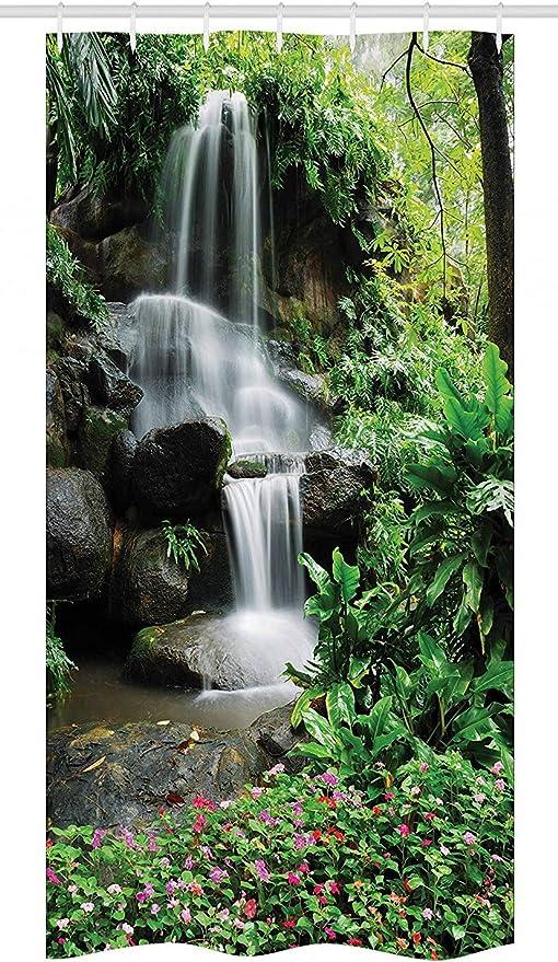 SRJ2018 Ca a Ca a Cascada Estanque Flores Flores Plantas Tropicales Majestuosa Selva Fresca de jardín del con Verde Marrón Oscuro Blanco: Amazon.es: Hogar